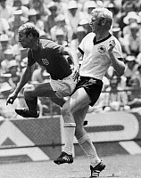 0131561 © Granger - Historical Picture ArchiveSOCCER: WORLD CUP, 1970.   Bobby Charlton (left) of England playing against Karl-Heinz Schnellinger of West Germany during the 1970 World Cup quarter final, 14 June 1970.