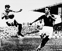 0131711 © Granger - Historical Picture ArchiveWORLD CUP, 1938.   Alfredo Foni of Italy kicks the ball during the 1938 World Cup final match against Hungary.