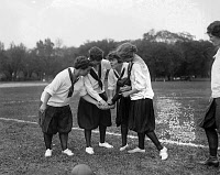 0620236 © Granger - Historical Picture ArchiveSOCCER, c1920.   Young women on a soccer field. Photograph, c1920.