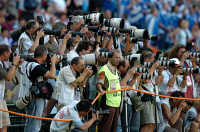 0621174 © Granger - Historical Picture ArchiveSOCCER: MEDIA, 2004.   Photographers at the 2004 European Football Championship in Portugal, covering a match between French and Greek teams. Photograph by Sven Simon, 25 June 2004. Full Credit: ullstein bild - Sven Simon / Granger, NYC. All Rights Reserved.