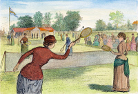 0053758 © Granger - Historical Picture ArchiveLADIES' LAWN TENNIS, 1883.   Ladies' Lawn Tennis Tournament at the Cricket Club of Staten Island, New York. Wood engraving, 1883.