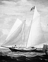0034665 © Granger - Historical Picture ArchiveYACHTING, 1851.   The yacht, 'America,' competing in the British Royal Yacht Squadron's annual race around the Isle of Wight, 22 August 1851. 'America,' the only non-British entry, won handily. Detail of a painting, 1851, by Fitz Hugh Lane.