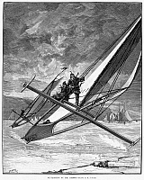 0087214 © Granger - Historical Picture ArchiveICE YACHTING, 1883.   'Ice-yachting on the Hudson.' Wood engraving, American, 1883.