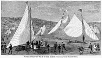 0098017 © Granger - Historical Picture ArchiveHUDSON RIVER: ICEBOATS.   Iceboats on the Hudson River, New York. Wood engraving, 1869.