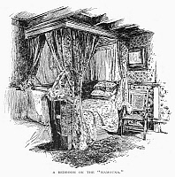 0098041 © Granger - Historical Picture ArchiveSTEAM YACHT: INTERIOR.   Bedroom on the steam yacht 'Namouna.' Line engraving, 1882.