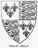 0092585 © Granger - Historical Picture ArchiveENGLISH COAT OF ARMS.   The coat of arms of King Henry IV (1367-1413) and his son, King Henry V (1387-1422) of England. Line engraving, 20th century.