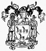 0077286 © Granger - Historical Picture ArchiveCOAT OF ARMS: OHIO COMPANY.   Coat of arms of the Ohio Company, formed in 1748 by London, England, businessmen and Virginia planters.