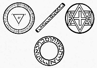 0078988 © Granger - Historical Picture ArchiveDOCTOR FAUSTUS: SYMBOLS.   Magic circles and wand of Doctor Faustus.