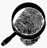 0098677 © Granger - Historical Picture ArchiveSYMBOL: CRIMINOLOGY.   A fingerprint and magnifying glass, symbolizing the science of criminology.