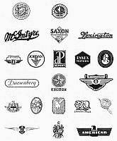 0098755 © Granger - Historical Picture ArchiveLOGOS: AUTO COMPANIES.   Logos for various early 20th century American automobile companies.