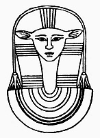 0099544 © Granger - Historical Picture ArchiveEGYPTIAN SYMBOL: HATHOR.   Hathor, the ancient Egyptian goddess of the sky and of women, fertility and love. Line drawing.