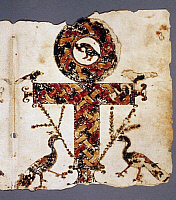 0125746 © Granger - Historical Picture ArchiveCOPTIC CROSS.   Ansate cross with birds. Illumination on vellum from a Coptic manuscript of the first half of the Book of Acts, c400 A.D.
