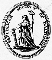 0097702 © Granger - Historical Picture ArchiveDEMOCRATIC-REPUBLICAN PARTY.   Label for the Democratic-Republican Party, 1790. Seal shows the French liberty cap.