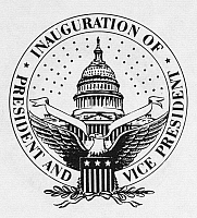 0012683 © Granger - Historical Picture ArchiveU.S. INAUGURAL SEAL.   Seal of the Inauguration of the President & Vice President of the United States. NOTE: SEALS OF THE FEDERAL GOVERNMENT ARE NOT IN THE PUBLIC DOMAIN AND MAY NOT BE USED FOR OTHER THAN OFFICIAL BUSINESS WITHOUT THE SPECIFIC AUTHORIZATION OF THE AGENCY INVOLVED.