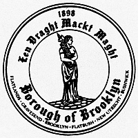 0097706 © Granger - Historical Picture ArchiveSEAL OF BROOKLYN.   'Een Draght Mackt Maght,' (In Unity there is Strength). Seal of the borough of Brooklyn, New York City.