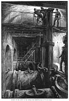 0066761 © Granger - Historical Picture ArchiveNYC WATERWORKS, 1881.   Shutting off the water from the Croton Tunnel at the Central Park Reservoir during a period of drought in the summer and autumn of 1881: wood engraving from a contemporary American newspaper.