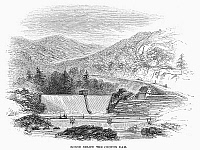 0102169 © Granger - Historical Picture ArchiveCROTON DAM, 1860.   The dam on the Croton River in New York, which supplied water for the Croton Aqueduct. Wood engraving, American, 1860.