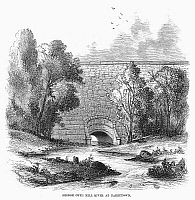 0102171 © Granger - Historical Picture ArchiveCROTON AQUEDUCT, 1860.   Bridge of the Croton Aqueduct over Mill River at Tarrytown, New York. Wood engraving, American, 1860.