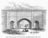 0102172 © Granger - Historical Picture ArchiveCROTON AQUEDUCT, 1860.   A bridge of the Croton Aqueduct over 98th, 99th and 100th streets in New York City. Wood engraving, American, 1860.