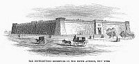 0102174 © Granger - Historical Picture ArchiveCROTON RESERVOIR, 1860.   The Croton Reservoir at 5th Avenue between 40th and 42nd Streets, New York City. Wood engraving, American, 1860.