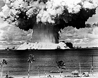0034259 © Granger - Historical Picture ArchiveATOMIC BOMB TEST, 1946.   American atomic bomb test at Bikini Atoll in the Pacific Ocean, 1946.