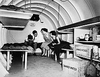 0086767 © Granger - Historical Picture ArchiveBOMB SHELTER, 1955.   An American family in a backyard bomb shelter, Garden City, New York, 1955.
