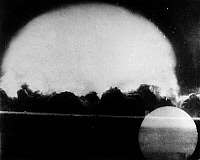 0171987 © Granger - Historical Picture ArchiveFIRST ATOMIC BOMB, 1945.   Photograph of the first atomic bomb explosion at Alamogordo, New Mexico, 16 July 1945.