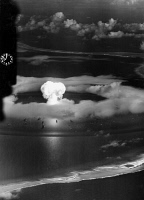 0408552 © Granger - Historical Picture ArchiveATOMIC BOMB TEST, 1946.  American atomic bomb test at Bikini Atoll in the Pacific Ocean. Photograph, July 1946.