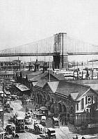 0091116 © Granger - Historical Picture ArchiveBROOKLYN BRIDGE, 1898.   Brooklyn Bridge viewed from the Fulton Ferry Terminal in Manhattan, 1898.