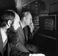0172494 © Granger - Historical Picture ArchiveVOICE RECOGNITION, 1972.   James Flanagan (right) and Robert Lummis of Bell Laboratories demonstrate an automatic voice-verification system using a graphics computer. Photograph, 1972.