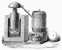 0091895 © Granger - Historical Picture ArchiveDISTILLERY, 17th CENTURY.   17th century device invented by Nicolas Lefèvre for the distillation of wine. French line engraving.