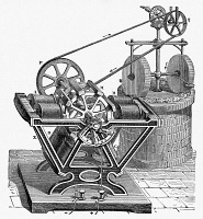 0064132 © Granger - Historical Picture ArchiveELECTRICITY: MOTORS.   Froment's motor of the 1840s, harnessed to a pair of millstones.