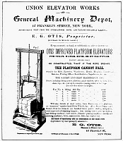 0000117 © Granger - Historical Picture ArchiveFREIGHT ELEVATOR, 1855.   The first advertisement for an Otis freight elevator.