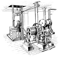 0066806 © Granger - Historical Picture ArchiveELEVATOR, 1862.   The Otis Patent Hoisting Engine, first installed in the A.T. Stewart Store, later Wanamaker's, in New York City: line engraving, 1862.