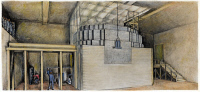 0047417 © Granger - Historical Picture ArchiveNUCLEAR REACTOR, 1942.   An artist's sketch of the first self-sustaining nuclear chain reactor, operated in Chicago, December 2, 1942. Built on a squash court under the West Stands of Chicago's Stagg Field, it was the first atomic pile.