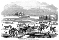 0027877 © Granger - Historical Picture ArchiveICE HARVESTING, 1854.   'Ice cutting at Spy Pond, West Cambridge, Massachusetts.' Wood engraving, American, 1854.