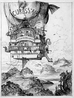 0527165 © Granger - Historical Picture ArchiveROBIDA: FLYING HOSPITAL.   Patients aboard a the airship 'Cure d'air,' from the futuristic novel 'Le vingtième siècle' by Albert Robida, 1883.