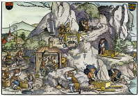 0038060 © Granger - Historical Picture ArchiveGOLD MINERS, 16th CENTURY.   Workers mining gold in a European village in the 16th century: contemporary engraving.