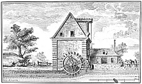 0033898 © Granger - Historical Picture ArchiveWATER-POWERED FLOUR MILL.   Line engraving, French, 18th century.