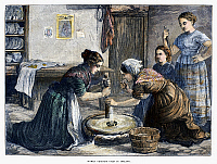 0097565 © Granger - Historical Picture ArchiveIRELAND: HAND MILL, 1874.   Irish peasant women using a hand mill to grind cereal grain into flour. Wood engraving, English, 1874.