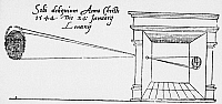 0015248 © Granger - Historical Picture ArchiveCAMERA OBSCURA, 1544.   The first published illustration of a camera obscura, which is registering the solar eclipse of 24 January 1544. Drawing by the 16th century Dutch scientist, Rainer Gemma-Frisius.
