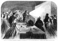 0354061 © Granger - Historical Picture ArchiveFLASH PHOTOGRAPHY, 1865.   Demonstration of flash photography with a magnesium light, at the soiree at the town hall during the meeting of the British Association at Birmingham. Wood engraving, English, 1865.