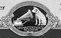 0015027 © Granger - Historical Picture ArchiveRCA VICTOR TRADEMARK, 1922.   'His Master's Voice.' An early version of RCA Victor's trademark, featuring Nipper the dog, from a Victor Talking Machine Company phonograph record catalogue of 1922.