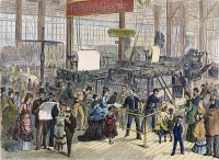 0009699 © Granger - Historical Picture ArchiveHOE WEB PRINTING PRESS.   Printing newspapers at the Philadelphia Centennial Fair in 1876. Contemporary engraving.