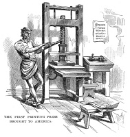 0066600 © Granger - Historical Picture ArchivePRINTING PRESS, 1639.   The first printing press brought to colonial America in 1639 by the English printer Stephen Daye, who set it up in Cambridge, Massachusetts. Wood engraving, American, 19th century.