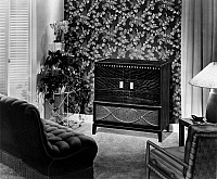 0175886 © Granger - Historical Picture ArchiveRCA RADIO, c1948.   An RCA radio in an American living room. Photograph, c1948.