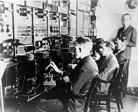 0621747 © Granger - Historical Picture ArchiveNBC RADIO BROADCAST, 1926.   Chief Engineer O.B. Hanson (right) with technicians in the main control room as the first NBC radio program goes on the air. Photograph, 1926.