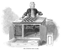 0046174 © Granger - Historical Picture ArchiveCHESS: AUTOMATON, 1845.   Wolfgang von Kempelen's 'The Turk,' a chess playing automaton, created c1770. Wood engraving, English, 1845.