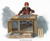 0059574 © Granger - Historical Picture ArchiveCHESS: AUTOMATON, 1845.   Wolfgang von Kempelen's 'The Turk,' a chess playing automaton, created c1770. Wood engraving, English, 1845.