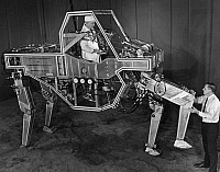 0176277 © Granger - Historical Picture ArchiveROBOT QUADRUPED, 1969.   A prototype robotic quadruped machine developed by General Electrc for the U.S. Army, designed to improve the mobility and materials-handling capabilites of soldiers. Photograph, 1969.
